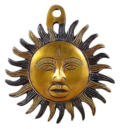 máscara colgante de pared decoración - diseño de sol artesanal latón metal figuraarte indio pintado -