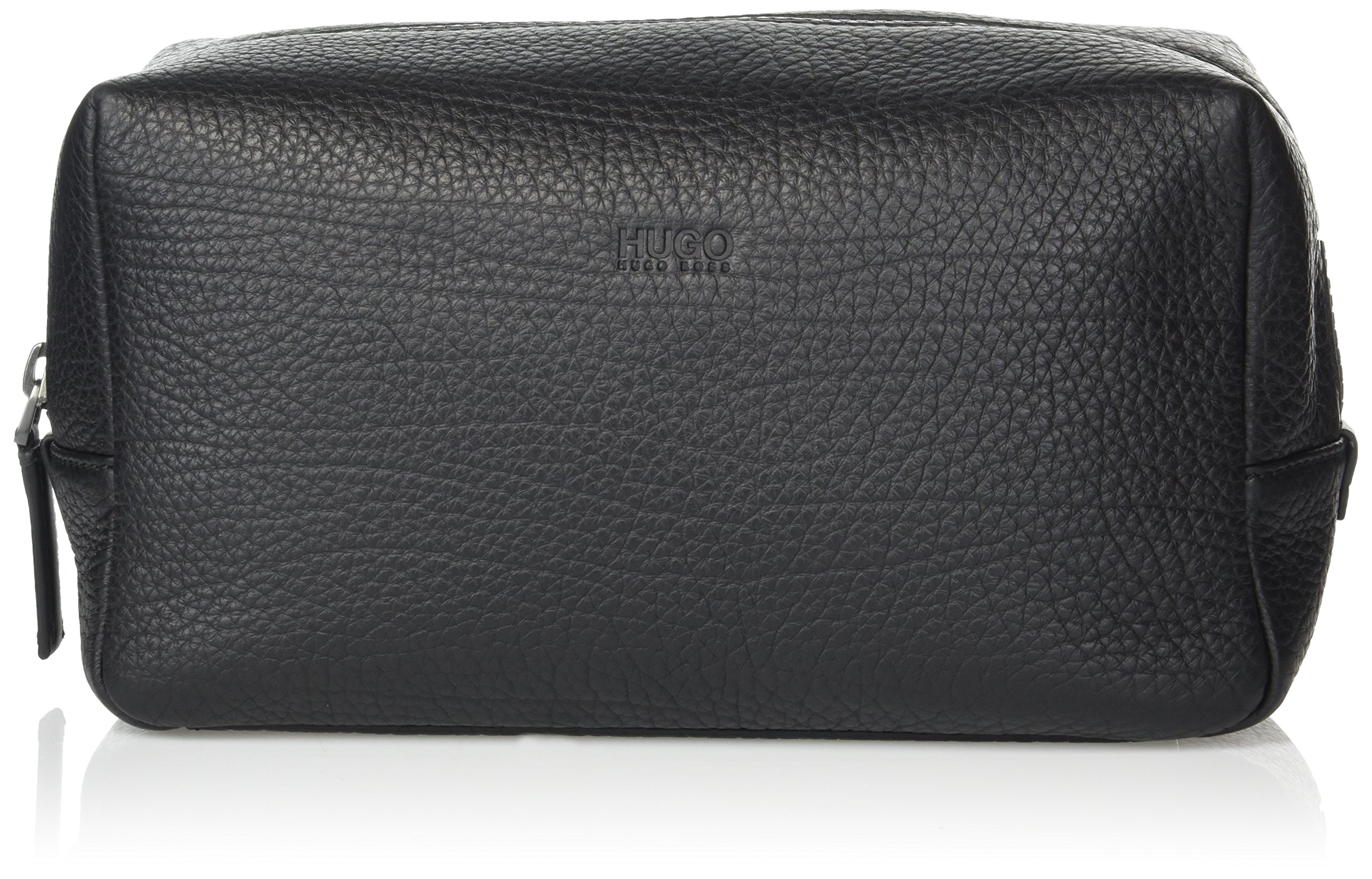 HUGO by Hugo Boss Men's Victorian Leather Washbag/DOB Kit, black One Size