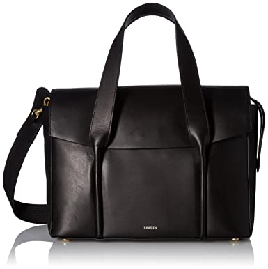 Skagen Beatrix Leather Flap Satchel, Black: Handbags: Amazon.com