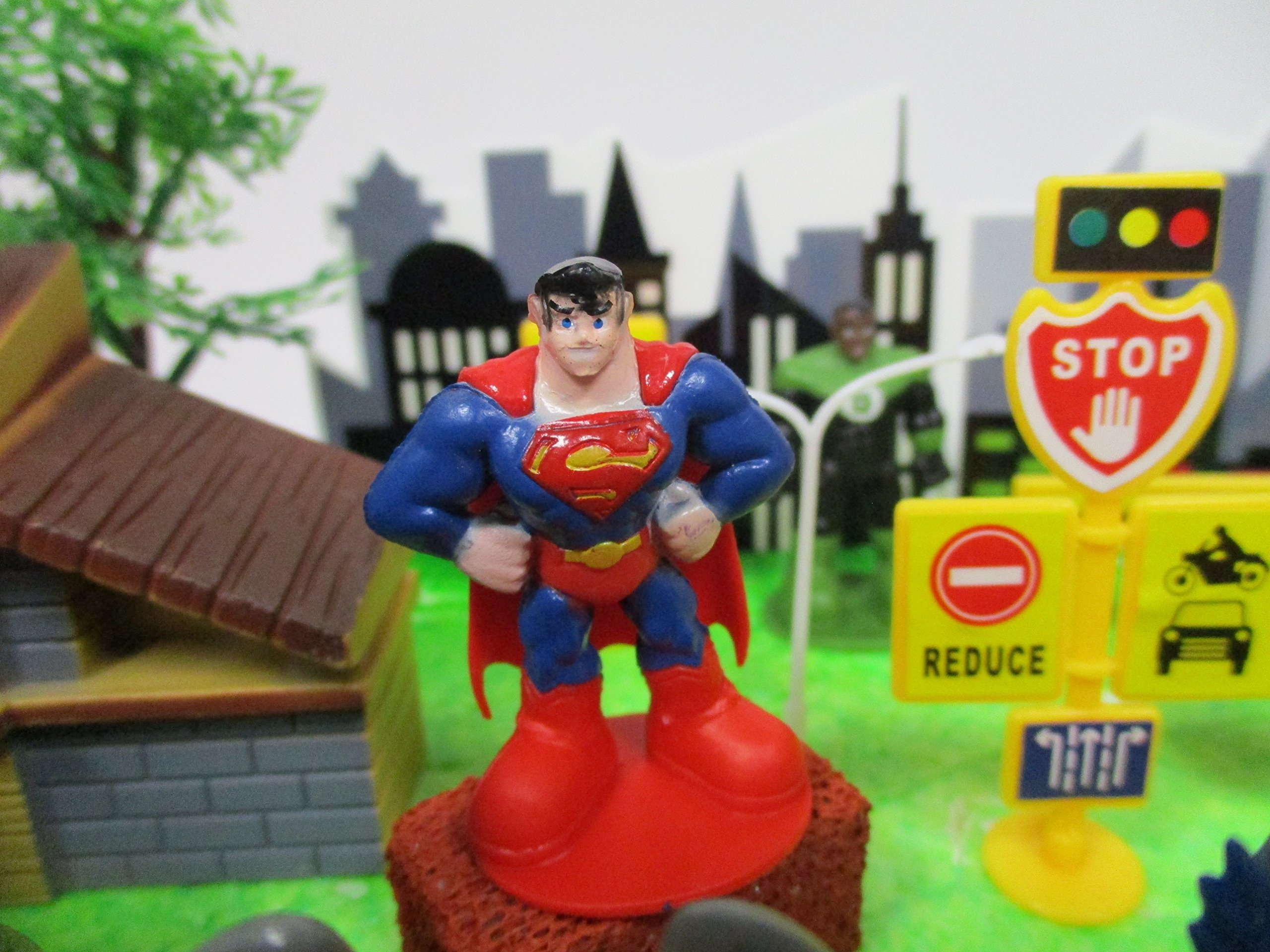 DC Comic Super Friends Birthday Cake Topper Set Featuring Super Hero Crime Fighters and Villains with Decorative Accessories by Kitoo (Image #9)