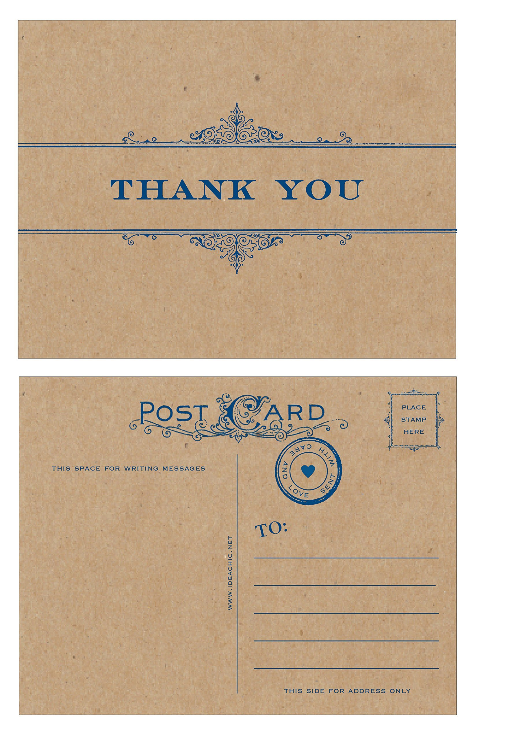 Vintage Scroll Thank you Postcards - 10 pack