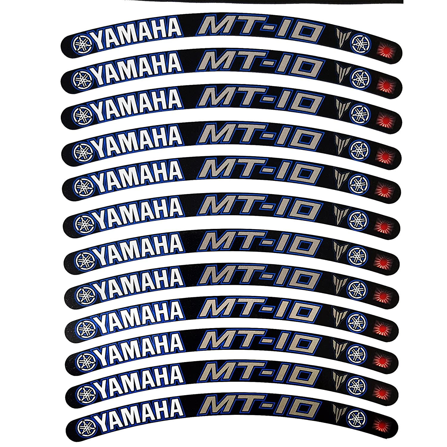 Yamaha MT10 wheel rim graphics black blue silver x 12 decals stickers