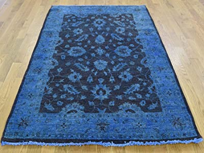 "4'1"" x6'1 Hand Knotted Denim Blue Cast Overdyed Peshawar Pure Wool Rug G35396"