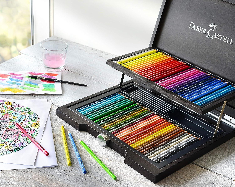 Faber-Castell 117506 - Estuche de madera con 48 ecolápices acuarelables y accesorios, multicolor