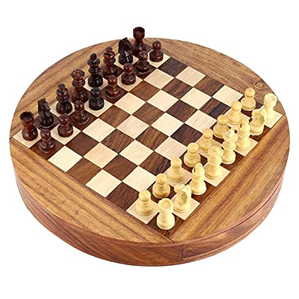 Wooden Hand Crafted (Magnetic) (9 in x 9 in) Round Chess Board Game