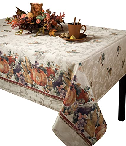 "Benson Mills Jubilee Printed Jacquard Tablecloth For Thanksgiving, Harvest and Fall (60"" X 120"" Rectangular) best Thanksgiving tablecloths"