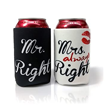 Review Mr. Right and Mrs. Always Right Wedding Can and Bottle Coolers, Neoprene Coolies for Cans, (2 Pack)