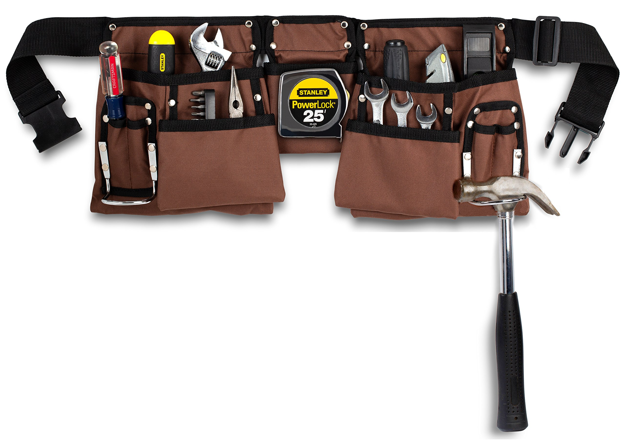 11 Pocket Brown and Black Heavy Duty Construction Tool Belt, Work Apron, Tool Pouch, with Adjustable Poly Web Belt Quick Release Buckle