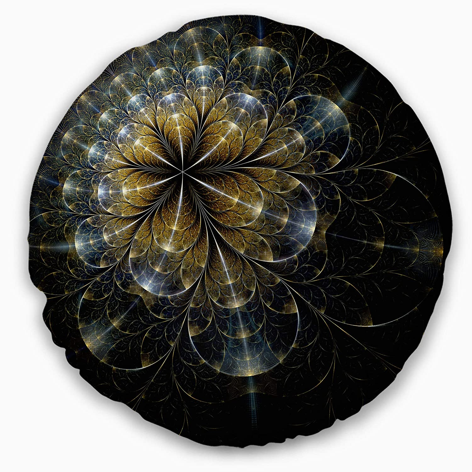Designart CU15655-20-20-C Large Mystic Golden Fractal Flower' Floral Round Cushion Cover for Living Room, Sofa Throw Pillow 20', Insert Printed On Both Side