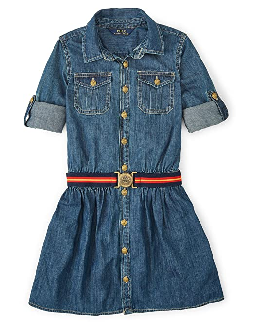 e934255e5d Ralph Lauren Polo Girls Denim Shirtdress Dress (7)  Amazon.ca ...