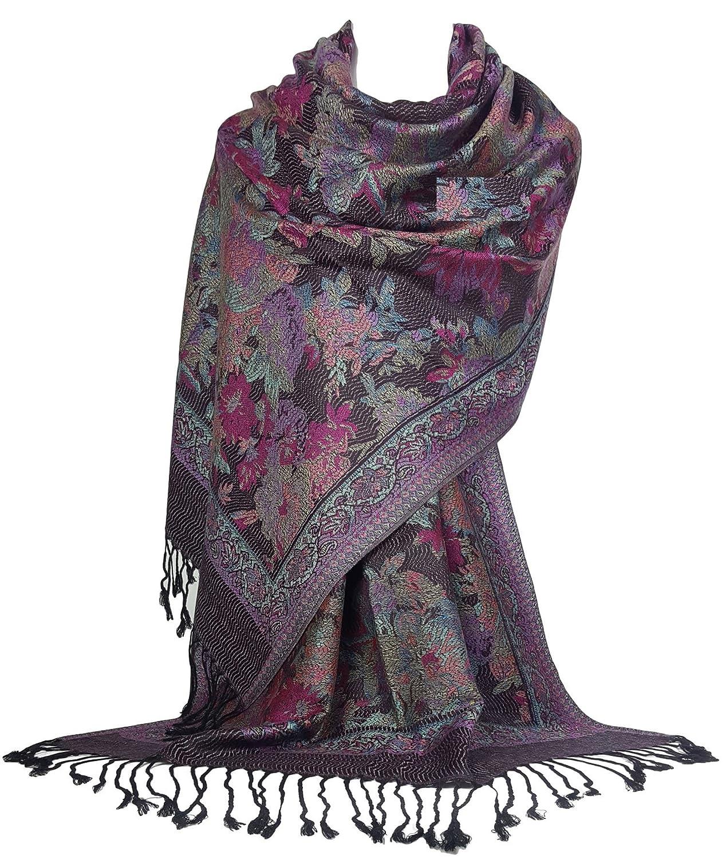 GFM Floral Mosaic Pattern Pashmina Style Scarf Shawl Wrap