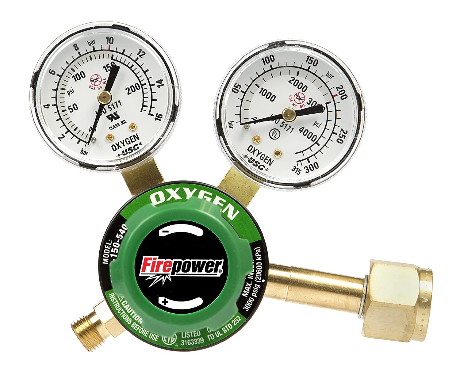 Firepower 0781-9826 250 Series OxyFuel Oxygen Regulator for Tips with a 5-Inch Cutting Capacity