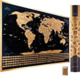 Scratch Off Map of The World with Flags - 24 x 17 Easy to Frame Scratch Off World Map Wall Art Poster with US States & Flags - Deluxe World Map Scratch Off Travel Map Designed for Travelers