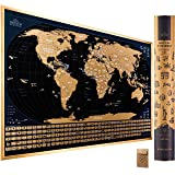Scratch Off Map of The World with Flags - 24 x 17 Easy to Frame Scratch Off World Map Wall Art Poster with US States…