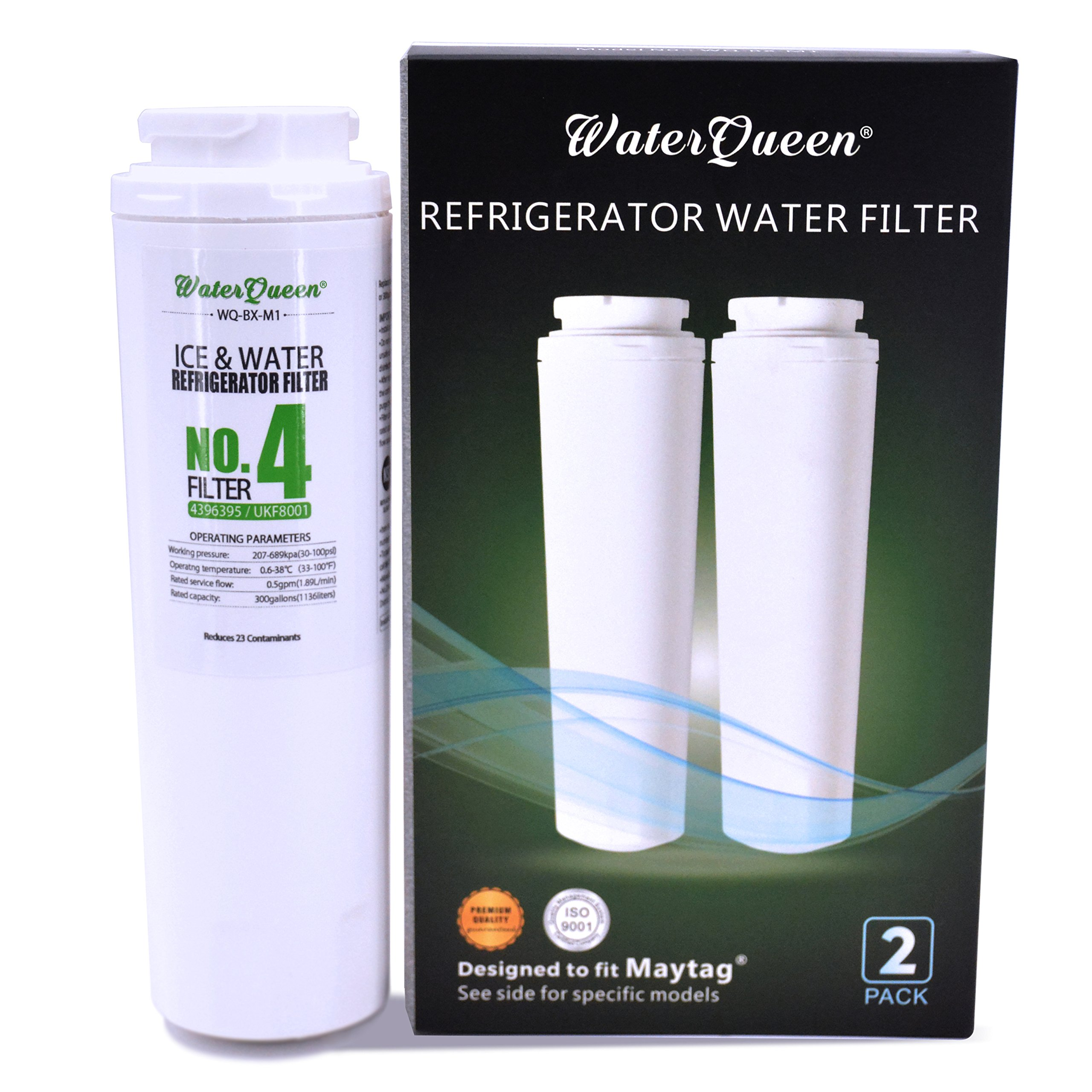 WaterQueen WQ-BX-M1 Replacement for Whirlpool 4396395, EveryDrop Filter 4, EDR4RXD1, Puriclean II, 469006, Jenn-Air, Maytag UKF8001, UKF8001P Refrigerator Water Filter (NSF42 Certificated) (2 pack)