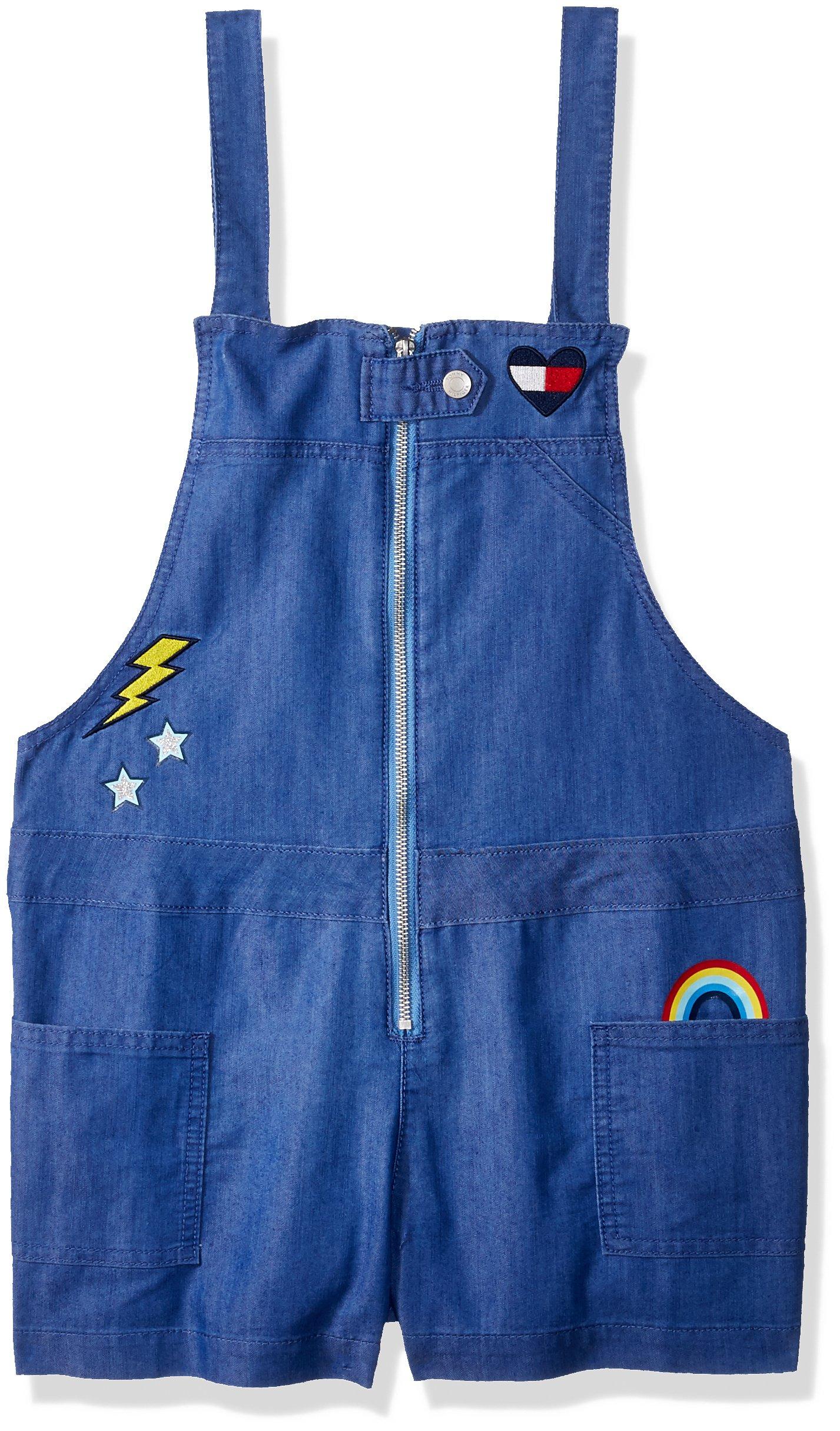 Tommy Hilfiger Big Girls' Denim Shortall, Twinkle Blue, X-Large
