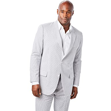 8427dcd9a1c4 Ks Signature Men's Big & Tall Linen Blend Two-Button Suit Jacket, Grey  Stripe