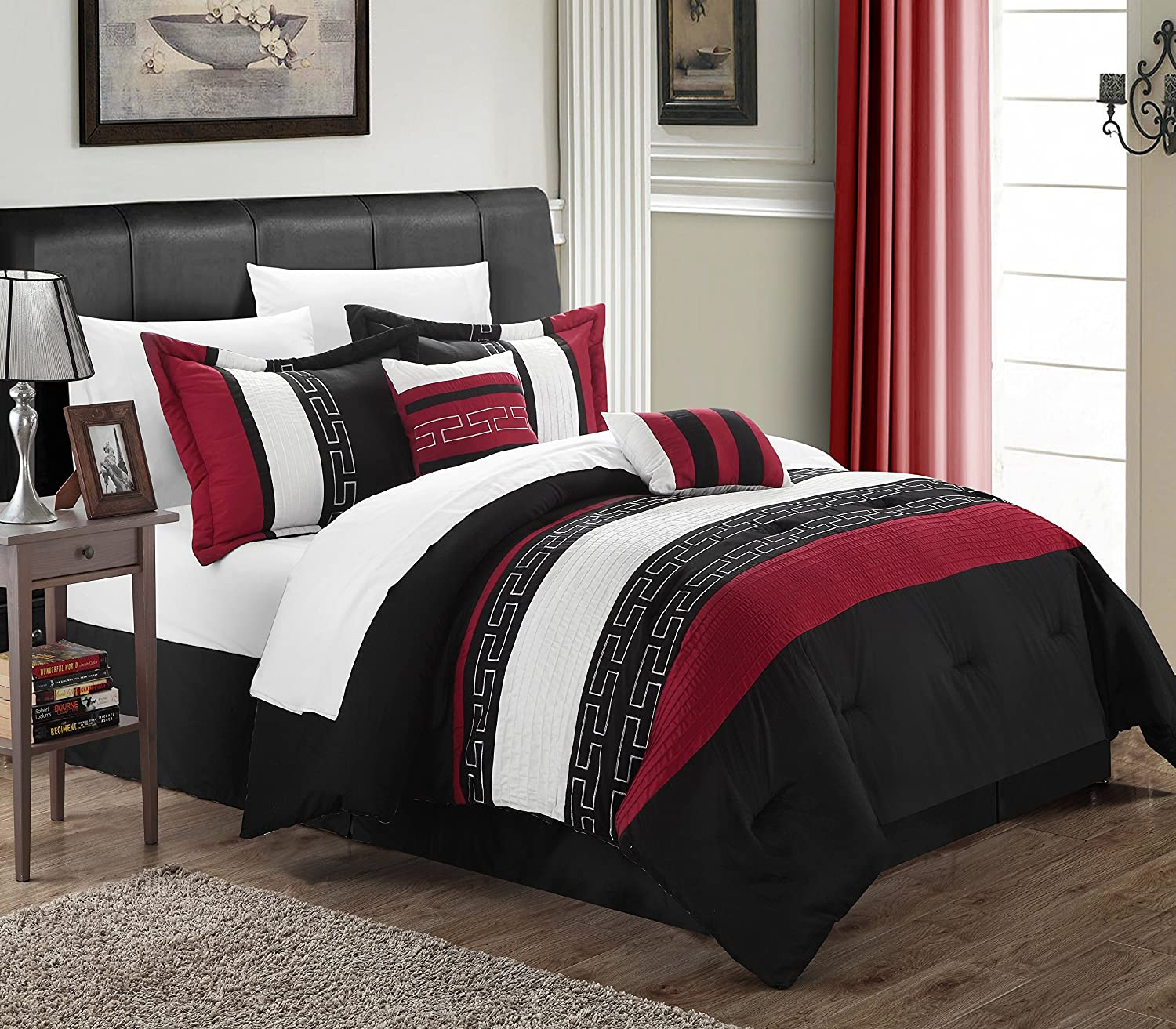 Chic Home Carlton 6-Piece Comforter Set, King Size, Black CS1213-212-AN