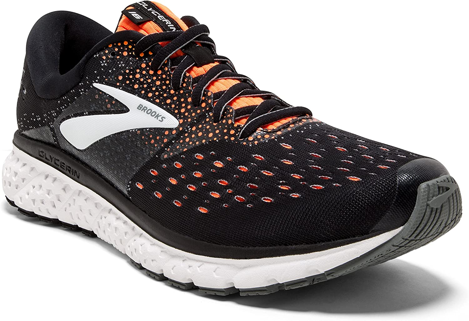 Brooks Mens Glycerin 16 – Black Orange Grey – D – 12.0