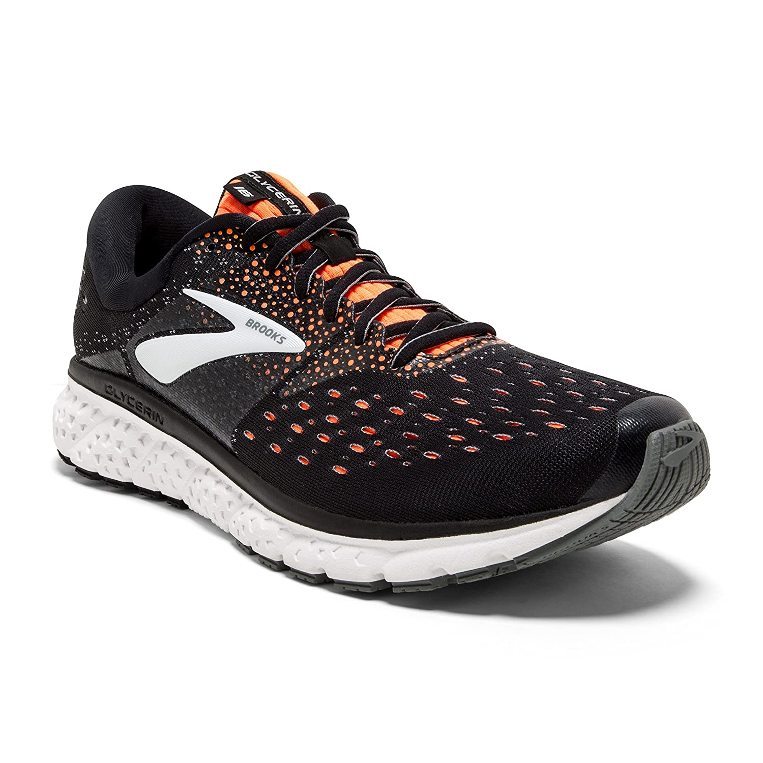 Brooks Mens Glycerin 16 – Black Orange Grey – D – 9.5