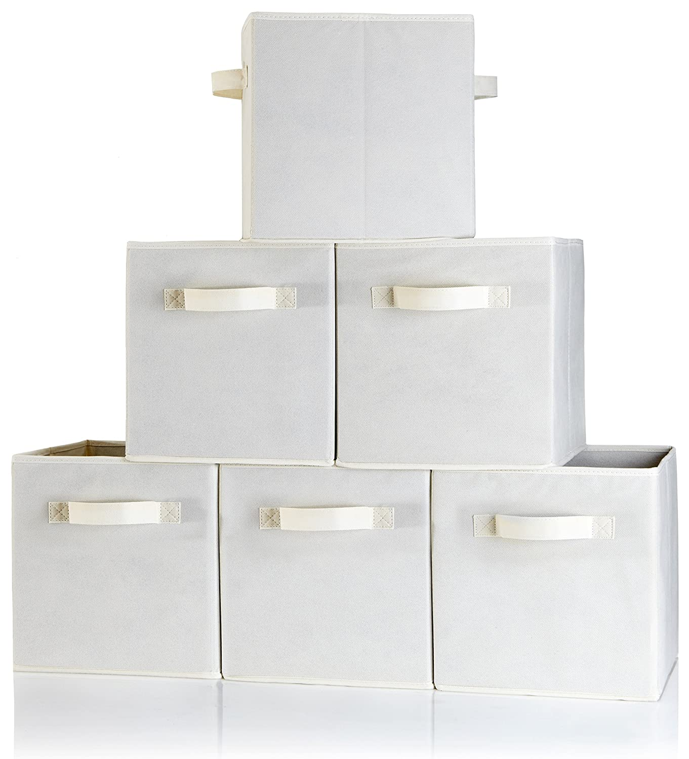 Ordinaire Amazon.com: Storage Cubes Dual Handle   Set Of 6 Beige Storage Bins For Cube  Storage   Foldable Fabric Storage Box Containers With Two Handles And ...