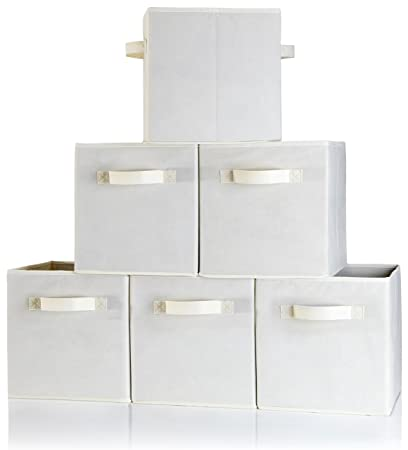 Storage Cubes Dual Handle   Set Of 6 Beige Storage Bins For Cube Storage    Foldable