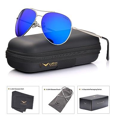 LUENX Aviator Gafas de Sol polarizadas Hombres Mujeres con Accesorios Metal Frame UV 400 Conducción Moda