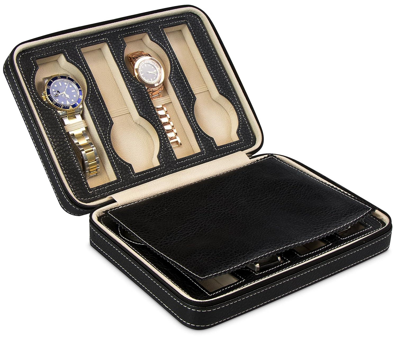 Custodia per 8 orologi - Nero 24 x 18 x 6 cm - Scatola presentazione e collezione orologi da polso - Grinscard