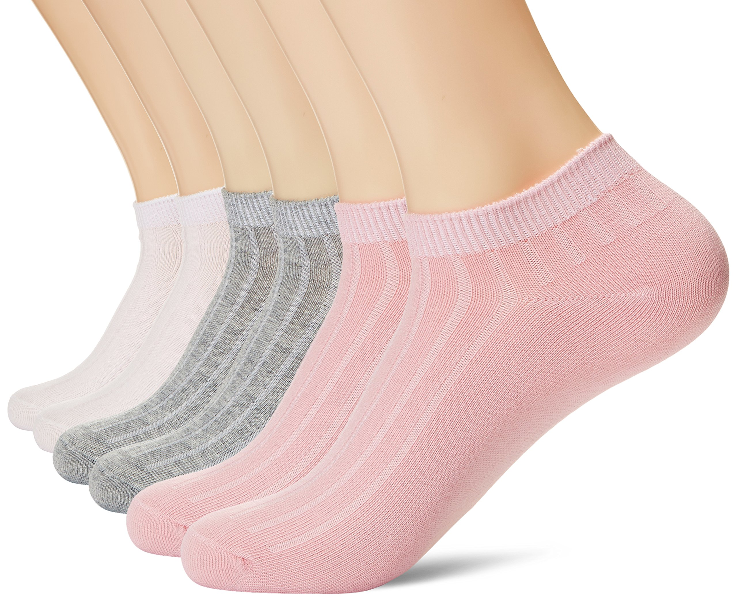 KOSY KOMFORT Womens Cotton 6-Pack Low Cut Ankle Socks Flat Boat Liner Socks FIT 6-10