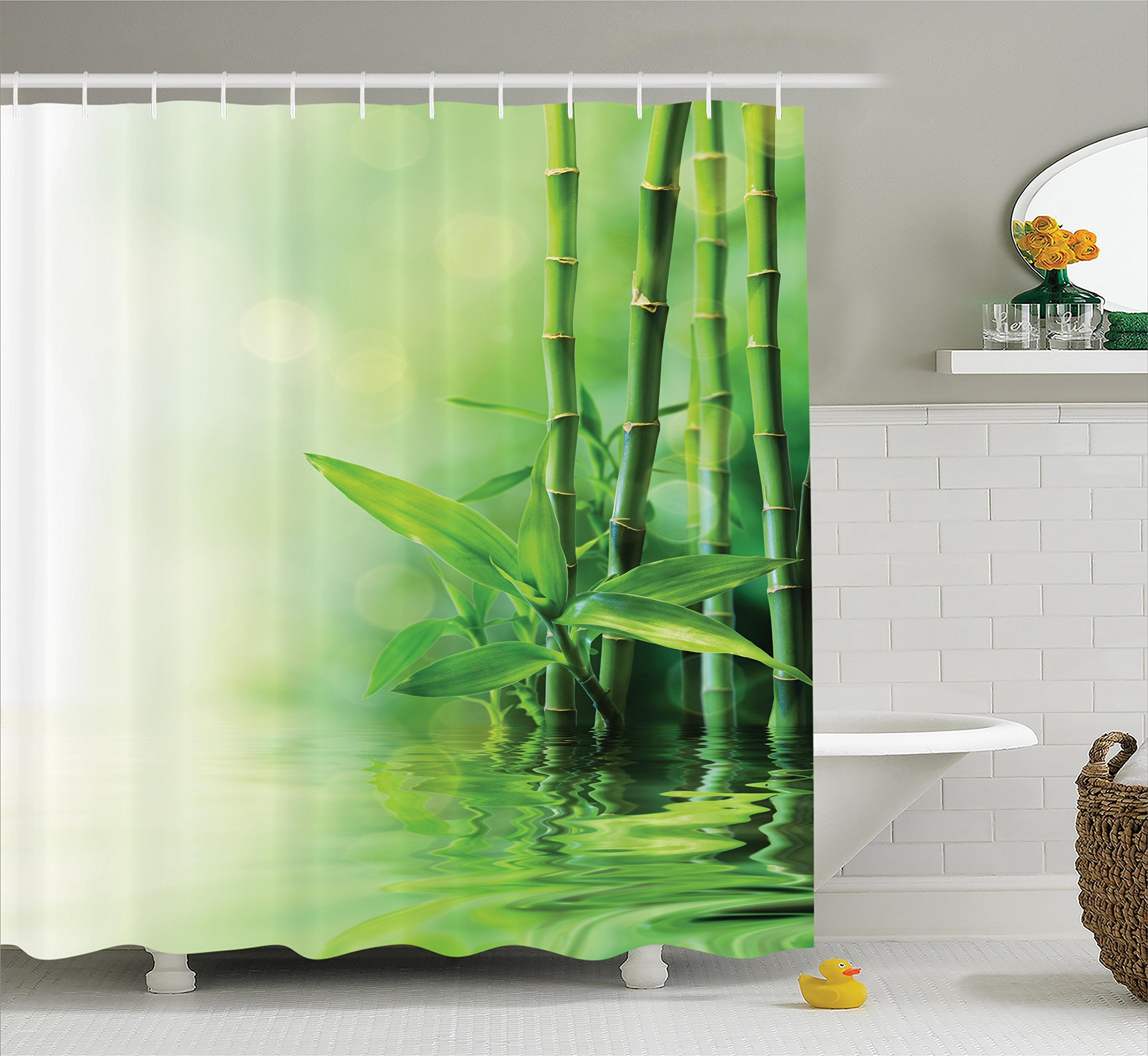 Ambesonne Asian Decor Shower Curtain Set, Bamboo Stalks Reflection On Water Blurs Freshness Japanese Decorative Zen Spa, Bathroom Accessories, 69W X 70L inches