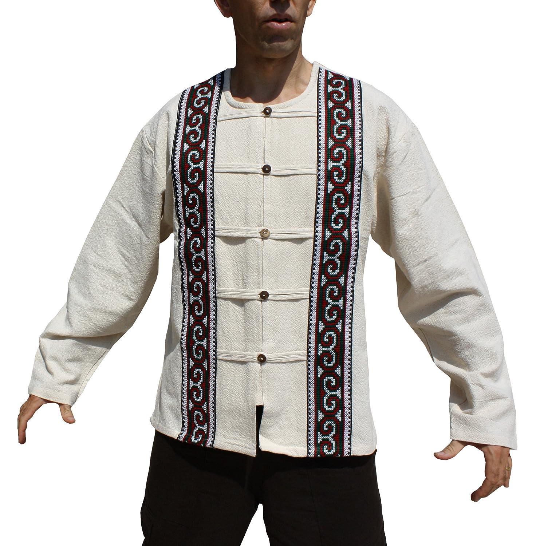 RaanPahMuang Long Sleeve Cotton Handcrafted Open Collar Wood Button Shirt variant57100AMZ