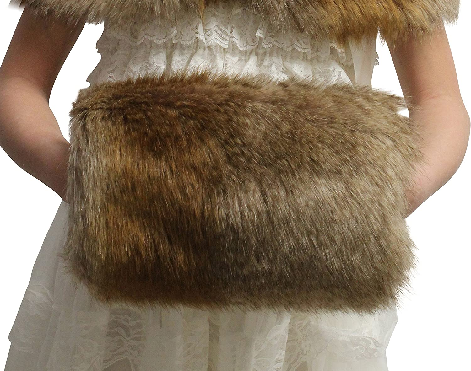 FAUX FUR PADDED HAND MUFF WARMER BRIDAL CHOOSE COLOR!!