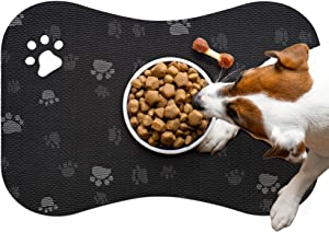 Pet Food Mat for Dogs and Cats Bone Shaped Paw Stripe Design Food Bowl Mat Flexible Waterproof Easy to Clean with Non Slip Backing Black