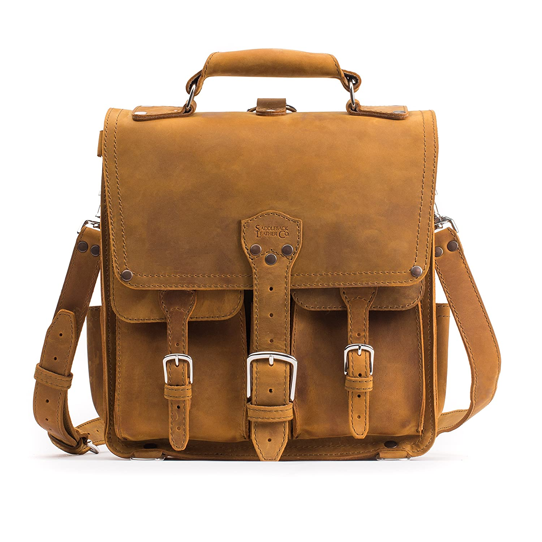 Saddleback Leather Co. Front Pocket Leather Messenger Backpack Book Bag Includes 100 Year Product Warranty