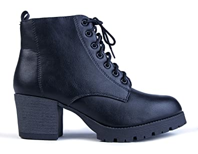 65de5b2a100 Image Unavailable. Image not available for. Color  J. Adams Jones Combat  Bootie - Casual Lace Up Closed Round Toe Chunky Heel Boots