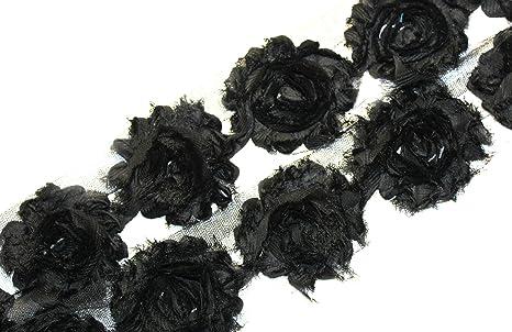 "1//2 yard black 2.5/"" shabby chiffon rose trim fabric flowers DIY baby headbands"