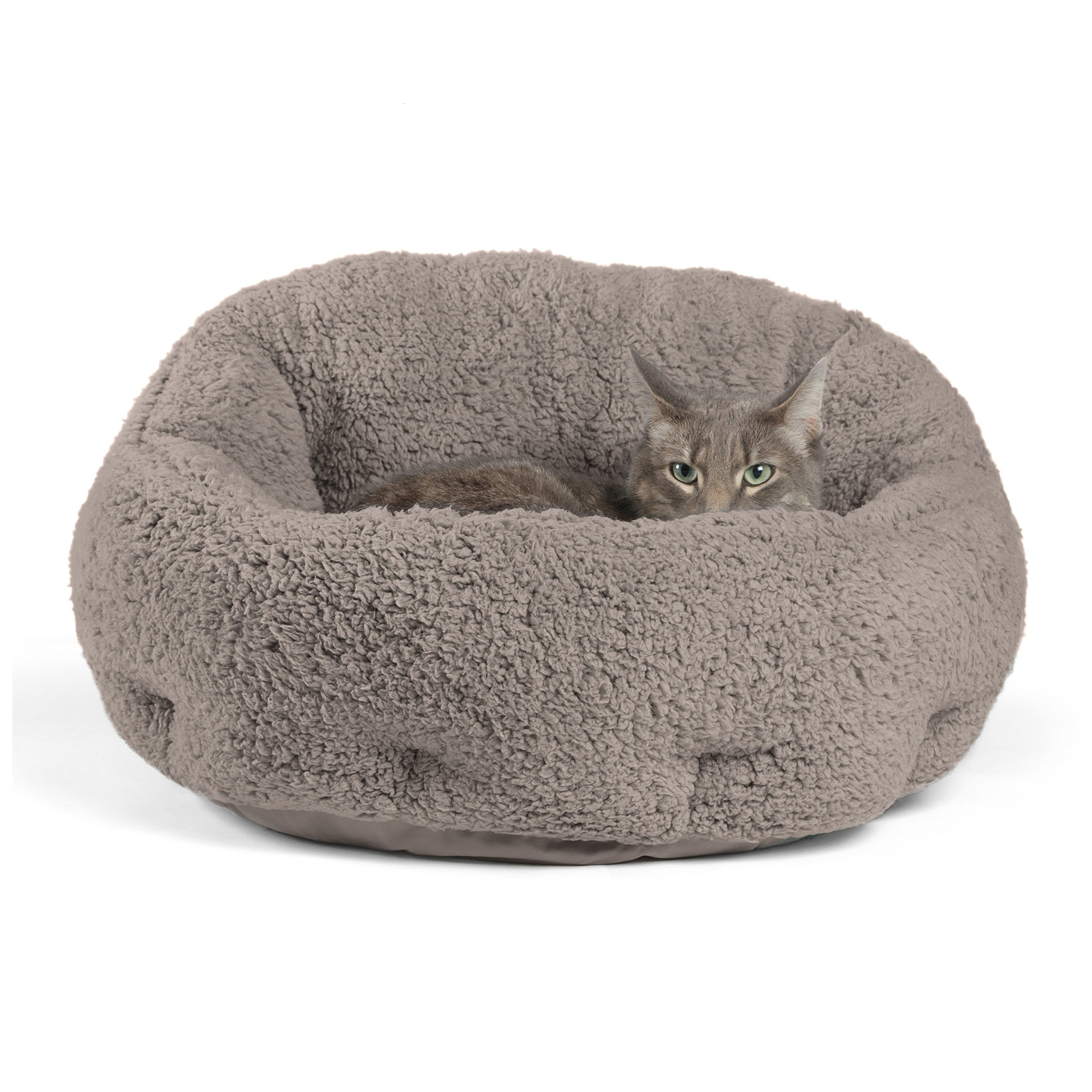 Best Friends by Sheri OrthoComfort Deep Dish Cuddler (20x20x12) - Self-Warming Cat and Dog Bed, Gray