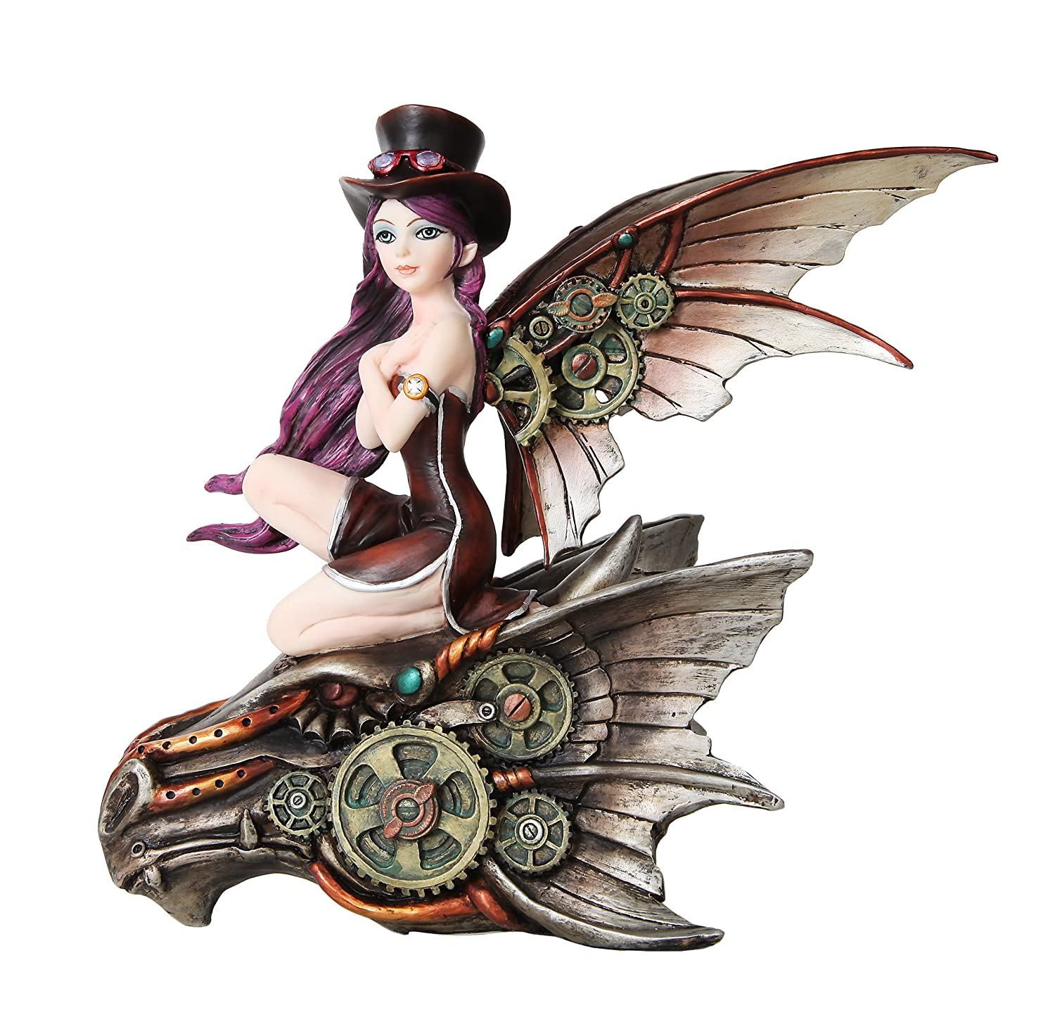 9 Inch Steampunk Top Hat Fairy Riding Dragon Skull Statue