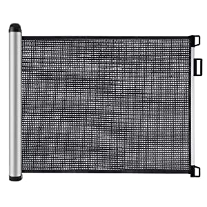 ECOCASA Retractable Mesh Baby Gate Pet Gate with Safety Locks for Stairs, Doorways, Indoor and Outdoor (35 x 55 Inch, Black)