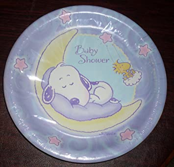 Hallmark Baby Snoopy Deluxe Large Paper Plates for Baby Shower & Amazon.com : Hallmark Baby Snoopy Deluxe Large Paper Plates for Baby ...