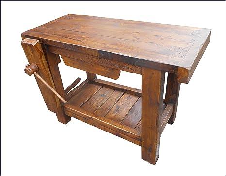 Banco da lavoro per falegnameria usato banco da lavoro in legno con una morsa laboratorio di - Banco da lavoro cucina legno ...