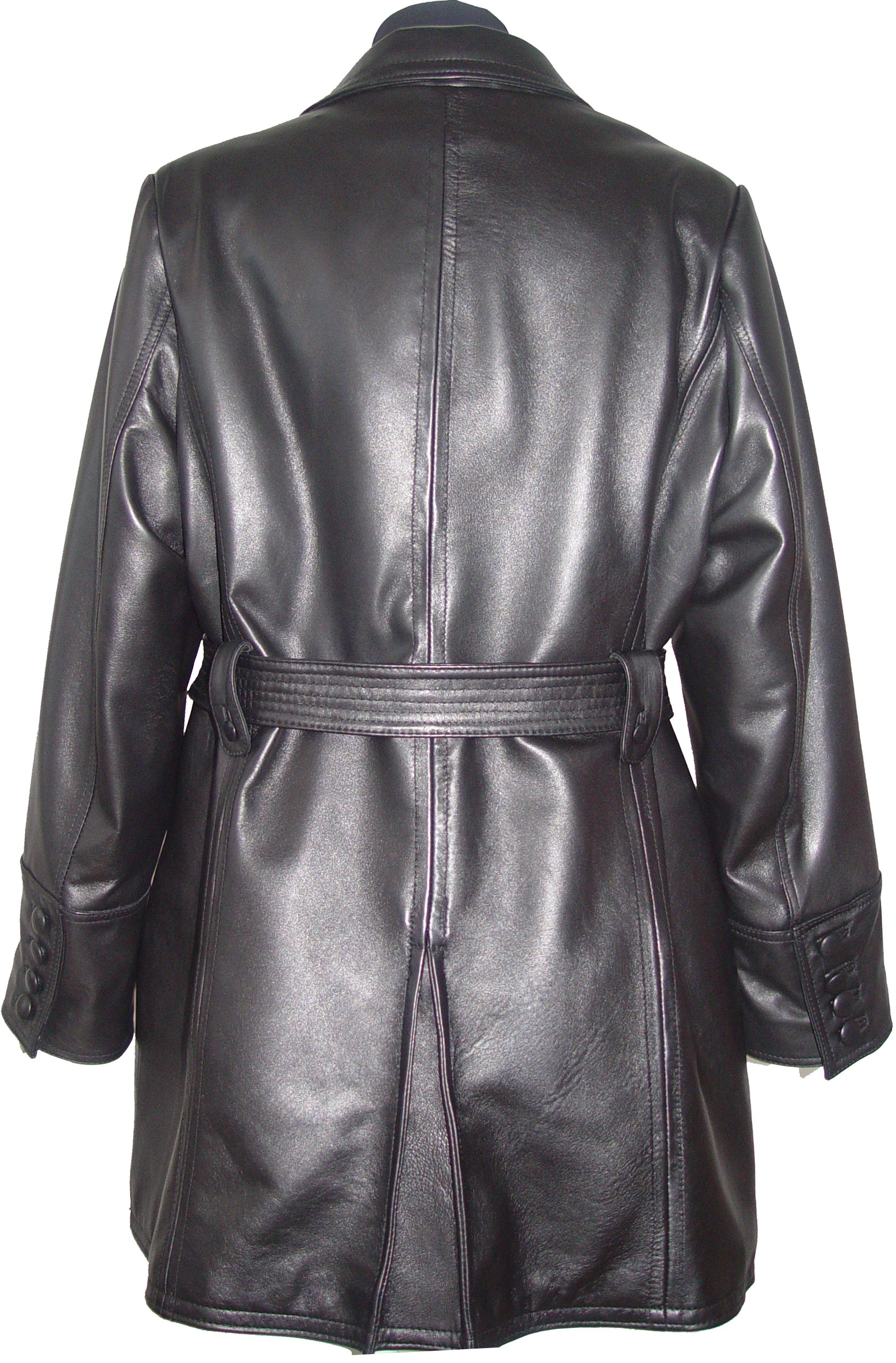 Paccilo 5006 Classic Leather Trench Coats Womens Business Clothing Soft Lamb by Paccilo (Image #5)
