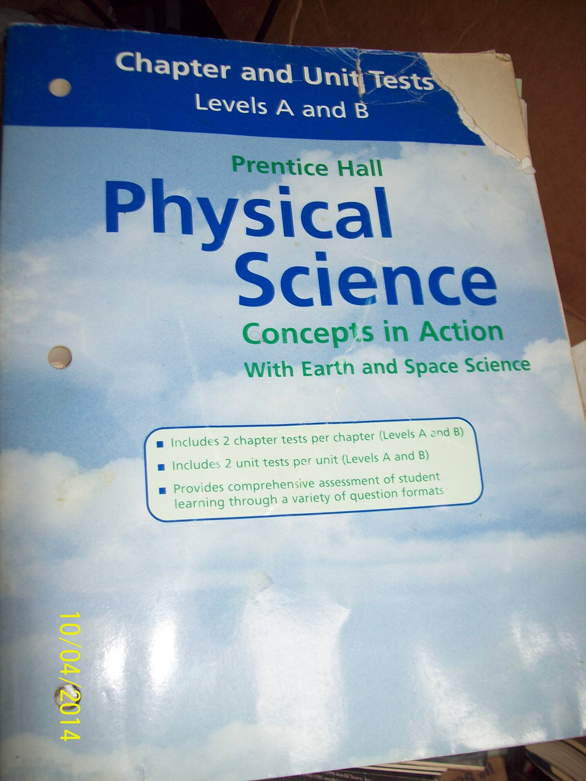 Worksheets Prentice Hall Physical Science Worksheets chapter and unit tests levels a b prentice hall physical science concepts in action with earth space prentic