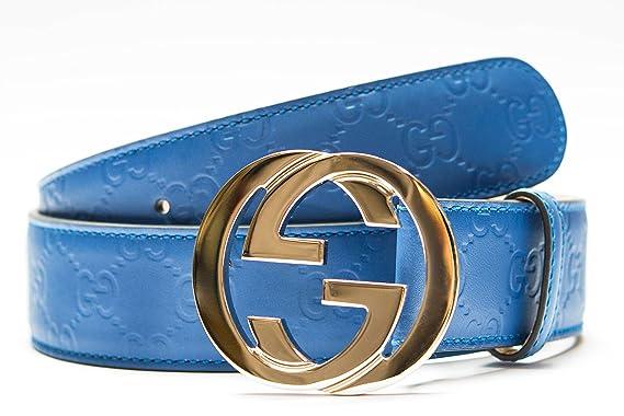 75643ac156c7 Gucci ceinture doré bleu pour la sangle de cuir hommes et femmes Bleu 100%  Cuir