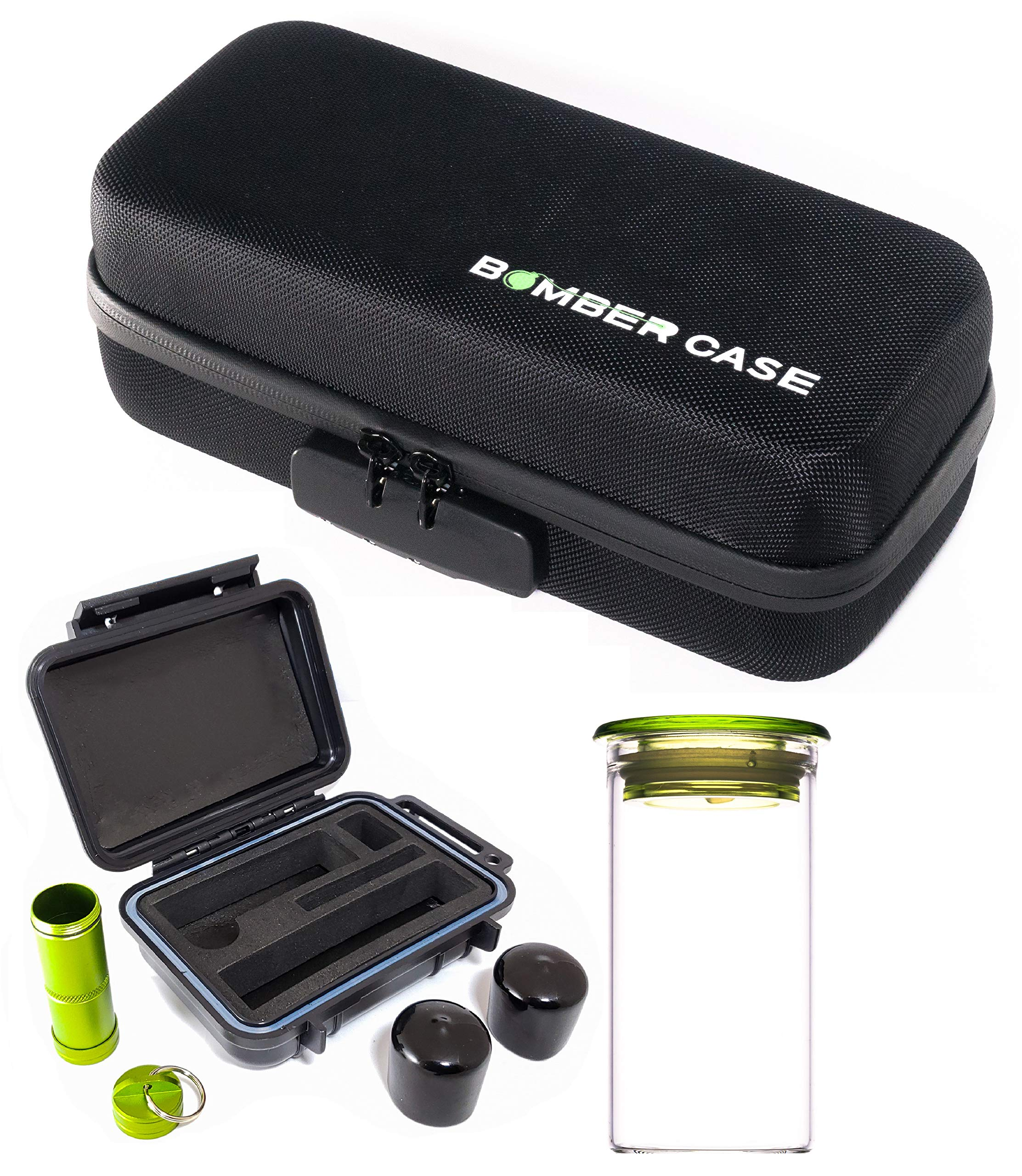 BOMBER CASE - Pax 2 & 3 Deluxe 6 Piece Kit with Large Locking Odor Proof Storage Case & Mini Smell Proof Carry Case, Glass Herb Jar, Bumper End Caps, Aluminum Material Bottle, Lockable Zipper - Black