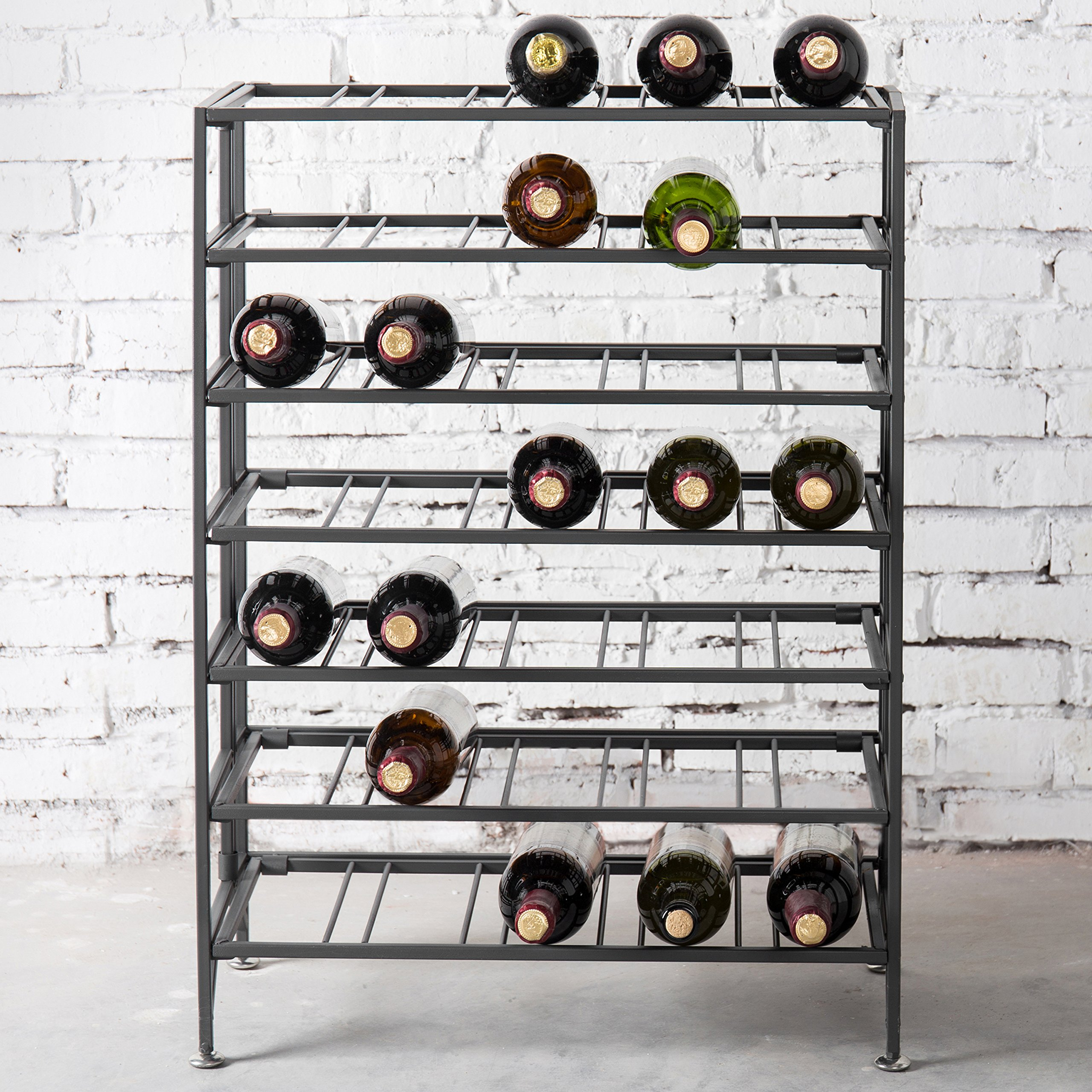 35-Bottle Connoisseurs Deluxe Foldable Gray Metal Wine Rack Cellar Storage Organizer Display Stand by MyGift