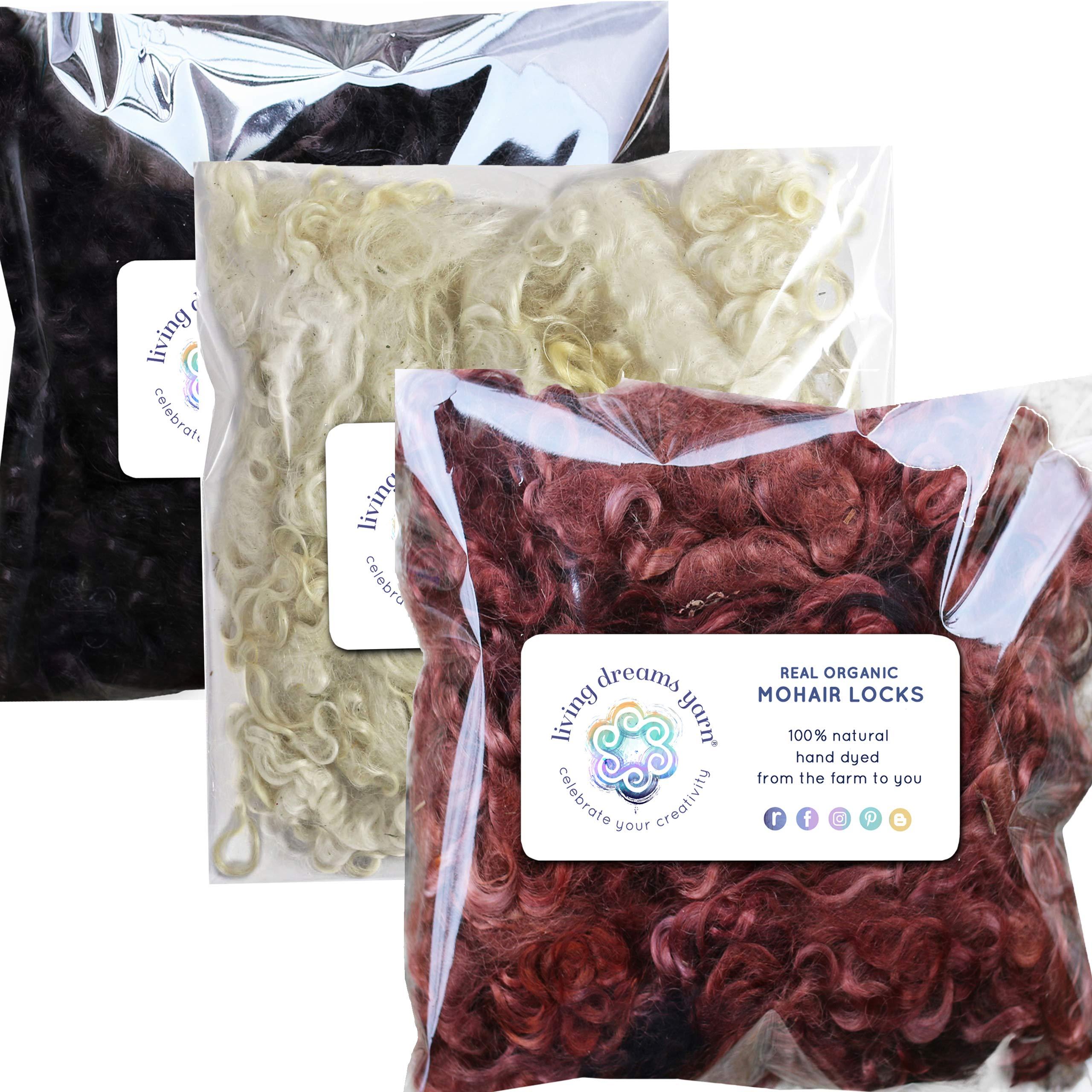 Real Mohair Wool Locks, Organic Hand Dyed Fiber for Felting, Blending, Spinning, Knitting, Doll Hair and Embellishments. 3 Ounce, White, Brown, Black
