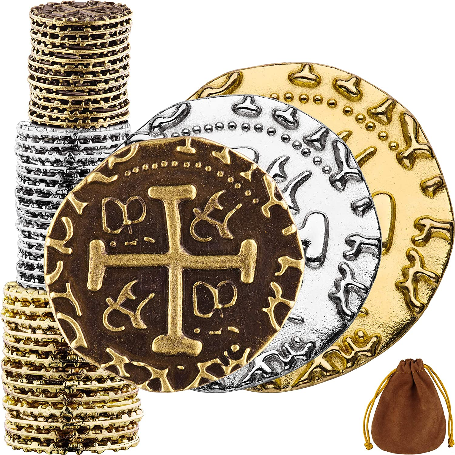 Pirate Coins - 36 Bronze, Silver & Gold Treasure Coin Set, Metal Replica Spanish Doubloons for Board Games, Tokens, Cosplay - Realistic Money Imitation, Pirate Treasure Chest - M, L. XL Sizes Mix