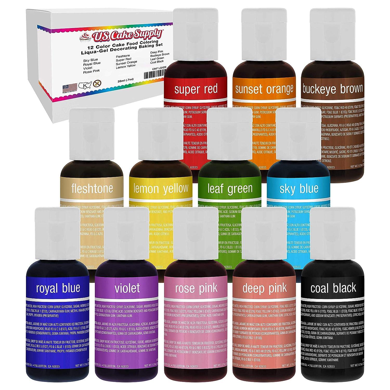 U.S. Cake Supply 12 Color Cake Food Coloring Liqua-Gel Decorating Set - .75 fl. Oz. (20ml) Bottles Primary Colors