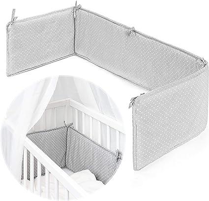 Fillikid - Tour de lit pour lit bébé cododo, berceau, couffin - Pourtour de  lit nouveau-né avec surface de couchage 90x40 cm, gris blanc à pois